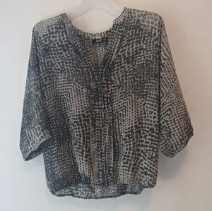 A.N.A leopard print blouse sheer shirt top sz XL